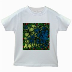 Holly Frame With Stone Fractal Background Kids White T Shirts