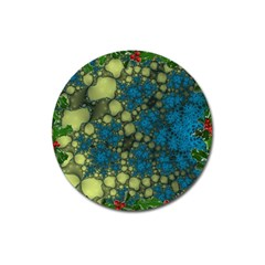 Holly Frame With Stone Fractal Background Magnet 3  (Round)