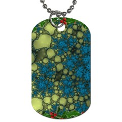 Holly Frame With Stone Fractal Background Dog Tag (One Side)