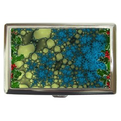 Holly Frame With Stone Fractal Background Cigarette Money Cases