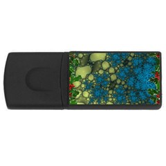 Holly Frame With Stone Fractal Background USB Flash Drive Rectangular (1 GB)