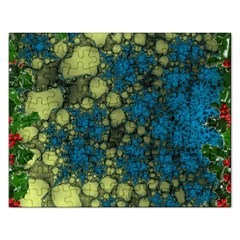 Holly Frame With Stone Fractal Background Rectangular Jigsaw Puzzl