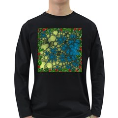 Holly Frame With Stone Fractal Background Long Sleeve Dark T-Shirts