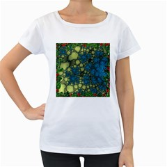 Holly Frame With Stone Fractal Background Women s Loose-Fit T-Shirt (White)