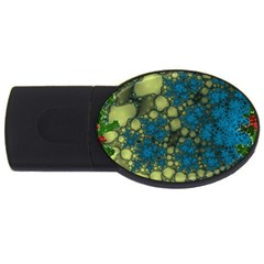 Holly Frame With Stone Fractal Background Usb Flash Drive Oval (4 Gb)