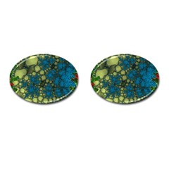 Holly Frame With Stone Fractal Background Cufflinks (oval)