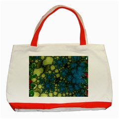 Holly Frame With Stone Fractal Background Classic Tote Bag (red)