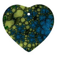 Holly Frame With Stone Fractal Background Heart Ornament (two Sides)