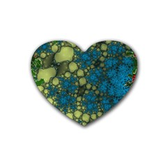 Holly Frame With Stone Fractal Background Heart Coaster (4 Pack)