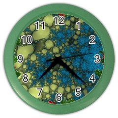 Holly Frame With Stone Fractal Background Color Wall Clocks