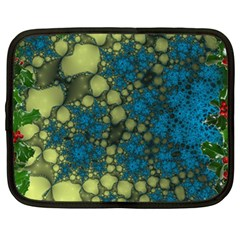 Holly Frame With Stone Fractal Background Netbook Case (large)