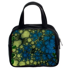 Holly Frame With Stone Fractal Background Classic Handbags (2 Sides)