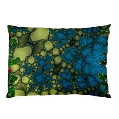 Holly Frame With Stone Fractal Background Pillow Case