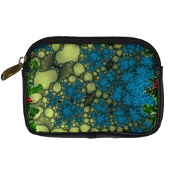 Holly Frame With Stone Fractal Background Digital Camera Cases