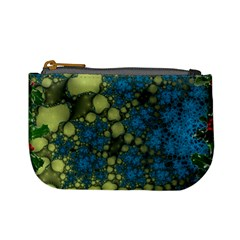 Holly Frame With Stone Fractal Background Mini Coin Purses