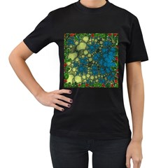 Holly Frame With Stone Fractal Background Women s T Shirt (black)