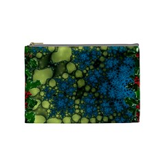 Holly Frame With Stone Fractal Background Cosmetic Bag (medium)