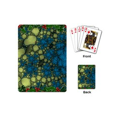 Holly Frame With Stone Fractal Background Playing Cards (mini)