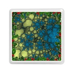 Holly Frame With Stone Fractal Background Memory Card Reader (square)