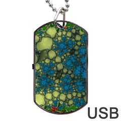 Holly Frame With Stone Fractal Background Dog Tag USB Flash (One Side)