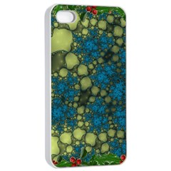 Holly Frame With Stone Fractal Background Apple iPhone 4/4s Seamless Case (White)