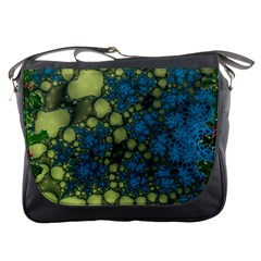 Holly Frame With Stone Fractal Background Messenger Bags