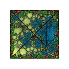 Holly Frame With Stone Fractal Background Acrylic Tangram Puzzle (4  x 4 )