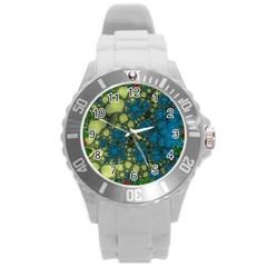 Holly Frame With Stone Fractal Background Round Plastic Sport Watch (l)
