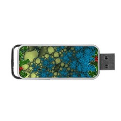 Holly Frame With Stone Fractal Background Portable USB Flash (One Side)