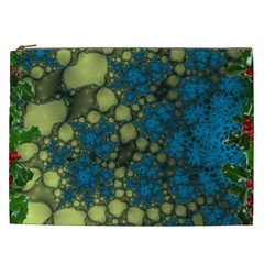 Holly Frame With Stone Fractal Background Cosmetic Bag (XXL)