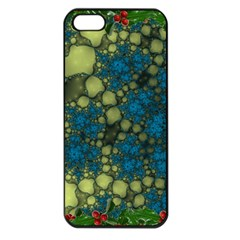 Holly Frame With Stone Fractal Background Apple iPhone 5 Seamless Case (Black)