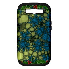 Holly Frame With Stone Fractal Background Samsung Galaxy S III Hardshell Case (PC+Silicone)