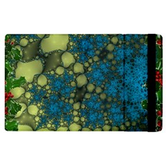Holly Frame With Stone Fractal Background Apple iPad 2 Flip Case