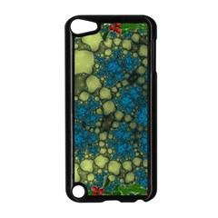 Holly Frame With Stone Fractal Background Apple Ipod Touch 5 Case (black)