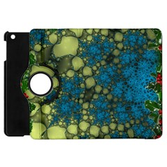 Holly Frame With Stone Fractal Background Apple iPad Mini Flip 360 Case