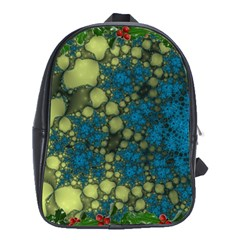Holly Frame With Stone Fractal Background School Bags (xl)