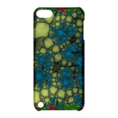 Holly Frame With Stone Fractal Background Apple iPod Touch 5 Hardshell Case with Stand