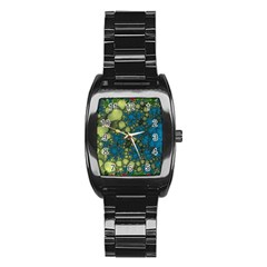 Holly Frame With Stone Fractal Background Stainless Steel Barrel Watch
