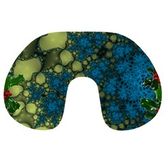 Holly Frame With Stone Fractal Background Travel Neck Pillows