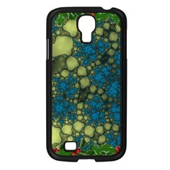 Holly Frame With Stone Fractal Background Samsung Galaxy S4 I9500/ I9505 Case (black)