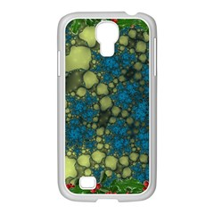 Holly Frame With Stone Fractal Background Samsung Galaxy S4 I9500/ I9505 Case (white)