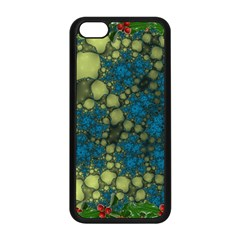 Holly Frame With Stone Fractal Background Apple Iphone 5c Seamless Case (black)