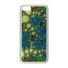 Holly Frame With Stone Fractal Background Apple iPhone 5C Seamless Case (White)