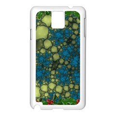 Holly Frame With Stone Fractal Background Samsung Galaxy Note 3 N9005 Case (White)