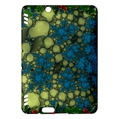 Holly Frame With Stone Fractal Background Kindle Fire HDX Hardshell Case