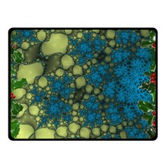 Holly Frame With Stone Fractal Background Double Sided Fleece Blanket (Small)