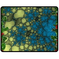 Holly Frame With Stone Fractal Background Double Sided Fleece Blanket (medium)