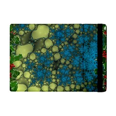 Holly Frame With Stone Fractal Background iPad Mini 2 Flip Cases