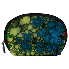 Holly Frame With Stone Fractal Background Accessory Pouches (Large)
