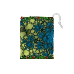 Holly Frame With Stone Fractal Background Drawstring Pouches (Small)